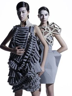 Fashion as Art - sculptural dress designs with pleated textures & bold construction // IFA Paris fashion student work