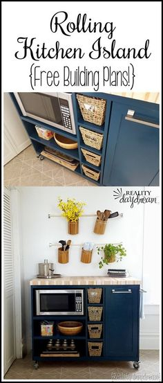 Custom DIY Rolling Kitchen Island ...with butcher block top, and a place for the microwave and trash! (Reality Daydream)