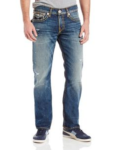 True Religion Men's Ricky Straight Fit Super T Jean in Gold and Orange - Listing price: $358.00 Now: $260.00