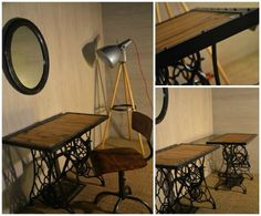 Old Sewing Machines Transformed Into Dressing Table
