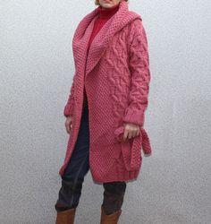 Hand Knit women's hooded coat aran women's jacket