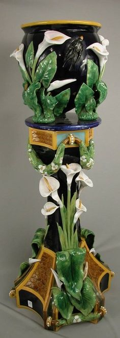 GEORGE JONES monumental cobalt calla lily and swallow jardiniere and pedestal.