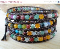 Leather wrap bracelet beaded leather wrap chan by WrappedInLeather, $43.96