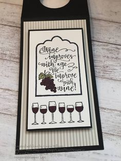 Items similar to Wine Tag, Wine Bottle Gift Tag, Christmas Wine Bottle Gift Tag, Black Gift Tag, Stampin' Up! Half Full Stamps on Etsy Wine Bottle Tags, Wine Tags, Wine Bottle Crafts, Tag Christmas, Christmas Wine Bottles, Scrapbooking, Handmade Gift Tags, Wine Gifts, Card Tags