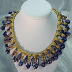 $800   Vintage Trifari Murano Millefiore Millefiori Glass beaded Necklace with Brass Tassels