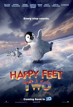 Directed by George Miller, Gary Eck, David Peers.  With Elijah Wood, Robin Williams, Pink, Carlos Alazraqui. Mumble's son, Erik, is struggling to realize his talents in the Emperor Penguin world. Meanwhile, Mumble and his family and friends discover a new threat their home -- one that will take everyone working together to save them.