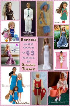 63 Delightful Barbie Crochet Patterns via @beckastreasures