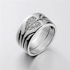 Love Heart Sterling Silver CZ 18K Gold Plated Rings Matching Couples Wedding Band Set | Yoyoon - 9145