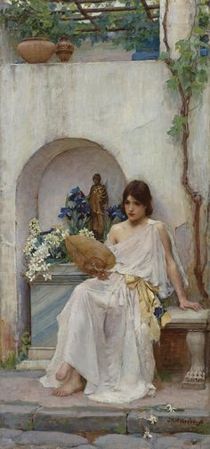 """""""Flora"""" by John William Waterhouse depicts a young woman sitting beside a votive altar for the goddess Flora."""