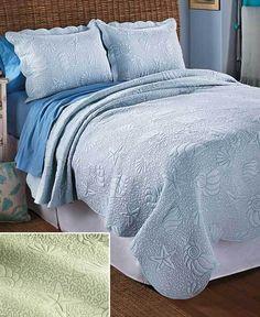 3 Pc. Coastal Bedspread Quilted Bedding Set F/Q K Seashells Starfish Beach House #Unbranded #Nautical