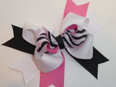 Zebra & Pink Boutique Hair Bow by RedandPinkBoutique on Etsy, £3.75
