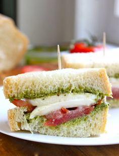 Buffalo Mozzarella Tomato and Pesto Sandwich