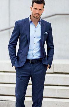 Günstige Kleidung Online Shops, Arbeitskleidung Für Männer, Hergestellt Aus M. Terno Slim, Light Blue Dress Shirt, Navy Suit Blue Shirt, Navy Suit Looks, Herren Outfit, Suit And Tie, Suit Without Tie, Wedding Men, Wedding Blue