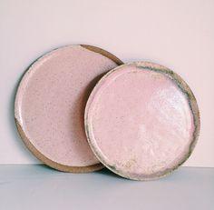 Pink ceramic plates - glaze application…