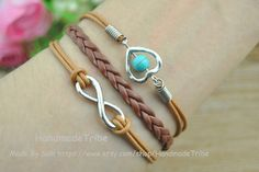 Infinity Wish Bracelet Heart Bracelet Turquoise by HandmadeTribe, $3.50 Lovely handmade jewelry