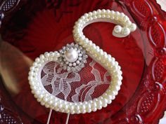 Ivory Pearls and Lace Wedding Cake Topper by ParisBakeryPretties, $65.00