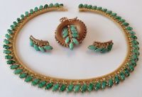 VINTAGE HOBE SIGNED JADE GREEN RHINESTONE NECKLACE BROOCH & EARRINGS