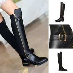 Knee High - Black pu+genuine leather zip riding boots @shoesofexception #kneehigh #boots #zipper