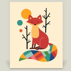 Fun Indie Art from BoomBoomPrints.com! http://www.boomboomprints.com/Product/AndyWestface/Rainbow_Fox/Art_Prints/8x10_Print/