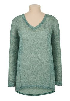 High-Low V-Neck Drop Shoulder Sweater (original price, $24) available at #Maurices