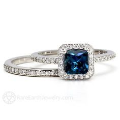 London Blue Topaz Engagement Ring & Wedding Band by RareEarth