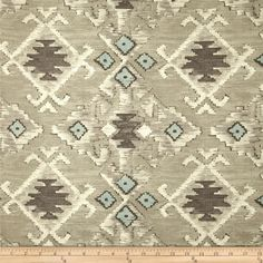 Swavelle/Mill Creek Yurta Tapestry Quarry Grey from @fabricdotcom  Screen-printed on textured (similar to bark cloth) cotton fabric, this versatile medium/heavyweight fabric is perfect for window treatments (draperies, valances, curtains and swags), accent pillows, duvet covers, upholstery and tote bags. Colors include aqua, white, charcoal and grey.