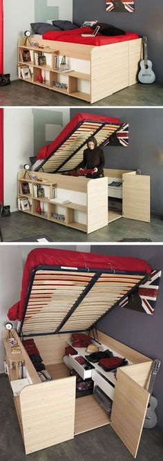 31 Small Space Ideas to Maximize Your Tiny Bedroom For those of people who live in small apartments, lofts or a compact house, keep the small bedrooms from clutter must be an everyday challenge. Fortunately, there are a lot of smart storage solutions help Small Space Storage, Storage Spaces, Smart Storage, Storage Organization, Hidden Storage, Small Space Bed, Underbed Storage Ideas, Bedroom Storage Ideas For Small Spaces, Small Bedroom Ideas On A Budget
