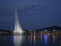Jet d'Eau is a large fountain in Lake Geneva, Switzerland. It is one of the largest fountains in the world as well as one of the city's most famous landmarks.