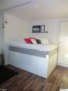 förvaring,compact living,upphöjd säng,säng,sängstomme,köksskåp,säng med förvaring,förvaring under säng