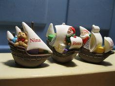 1992 Hallmark Christmas Merry Miniatures Nina Pinta and Santa Maria Ships Set 3 | eBay