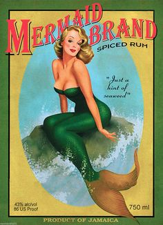 A SLICE IN TIME Mermaid Pin Up Jamaica Jamaican Rum Caribbean Island Beach Vintage Travel Advertisement Art Collectible Wall Decor Poster Print. Poster Measures 10 x inches Pin Up Girl Vintage, Vintage Pins, Vintage Art, Vintage Canvas, Vintage Labels, Vintage Mermaid, Mermaid Art, Mermaid Pinup, Pin Up Mermaid