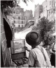 """The Painter "" by Willy Ronis ( Paris Willy Ronis, Robert Doisneau, Old Paris, Vintage Paris, Old Photography, Street Photography, People Photography, Creative Photography, Travel Photography"