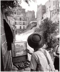 1947 - Escaliers de la rue Vilin en lieu et place de l'actuel Parc de Belleville. Willy Ronis