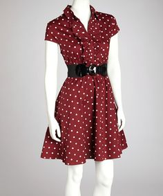 Take a look at this Burgundy & Ivory Polka Dot Belted Collared Dress on zulily today!