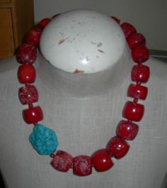 Vintage Custom Made Large Chunky Coral Turquoise Necklace | eBay #vintage #coral Chunky goodness