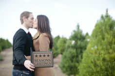 Pin for Later: 20 Ways to Add Holiday Spirit to Your Engagement Shoot Hold Up a Festive Sign Photo by Joielala Photographie via Style Me Pretty Christmas Engagement, Engagement Couple, Engagement Shoots, Christmas Tree Photography, Hold Ups, Christmas Love, California Wedding, Photo Galleries, Wedding Planning