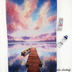 "🎨АКВАРЕЛЬ❤WATERCOLOR🖍COURSE on Instagram: ""🎨Online marathon ""Watercolor Scandinavia"". Link in my bio ⬆️ Друзья, на новом уроке мы приземлились в Финляндии! 🇫🇮👌[english text below…"" Watercolor Landscape Paintings, Marathon, Abstract, Artwork, Summary, Work Of Art, Auguste Rodin Artwork, Marathons, Watercolor Landscape"