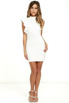 In need of a little cocktail dress? Look no further than the Au Revoir Ivory Bodycon dress! Halter neckline with a fun one-shoulder ruffle tops this stretch knit bodycon. A princess-seamed bodice flows down to a figure-skimming skirt. Hidden back zipper.