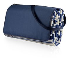 Picnic Time Blanket Tote XL Intra Stripe with Navy Flap