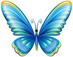 Large Art Blue Butterfly PNG Clip Art Image