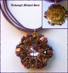 Archangel Michael Seal * Double Sided * Beaded Pendant * Ceremonial Magic * Necklace *Wall Hanging * Sigil * Protection