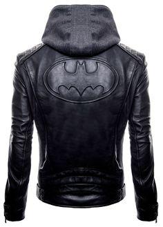 New Batman Logo Motorcycle Brando Biker Real Leather Hoodie Jacket - Detach Hood Leather Hoodie, Faux Leather Jackets, Motorcycle Leather, Motorcycle Jacket, Real Leather, Black Leather, Black Batman, Batman Logo, Biker Style