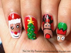 Nail Art My Passion: Tutorial 14: Santa Claus & Friends Christmas Nails