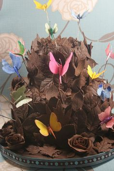 Chocolate cake covered with leaves and butterflies