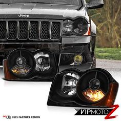 2008-2010 Jeep Grand Cherokee WK FACTORY HID D1S Xenon Black Headlights Assembly