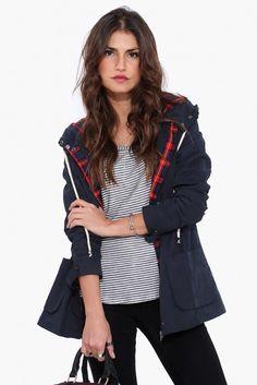 Babar Hooded Jacket in Navy   Necessary Clothing