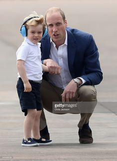 Prince William, Duke of Cambridge and Prince George during a visit to the Royal International Air Tattoo at RAF Fairford on July 8, 2016 in Fairford, England.