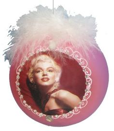 Marilyn Monroe Pink + Feathers Glass Ball Christmas Ornament
