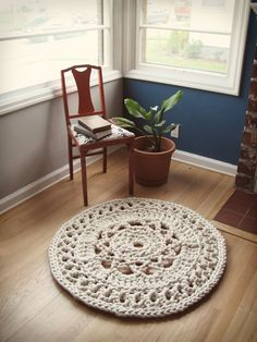 3' Giant Crochet Doily Rug, via Etsy.
