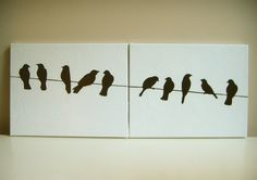 black and white birds on a wire acrylic painting canvas set